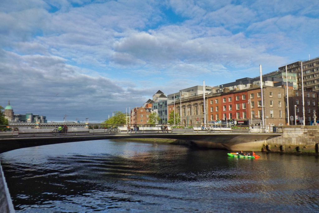 Rosie Hackett Bridge, Dublin City, Ireland, in 2020. Dublin-based Team ABC is a new international venture capital fund that invests in the travel sector.