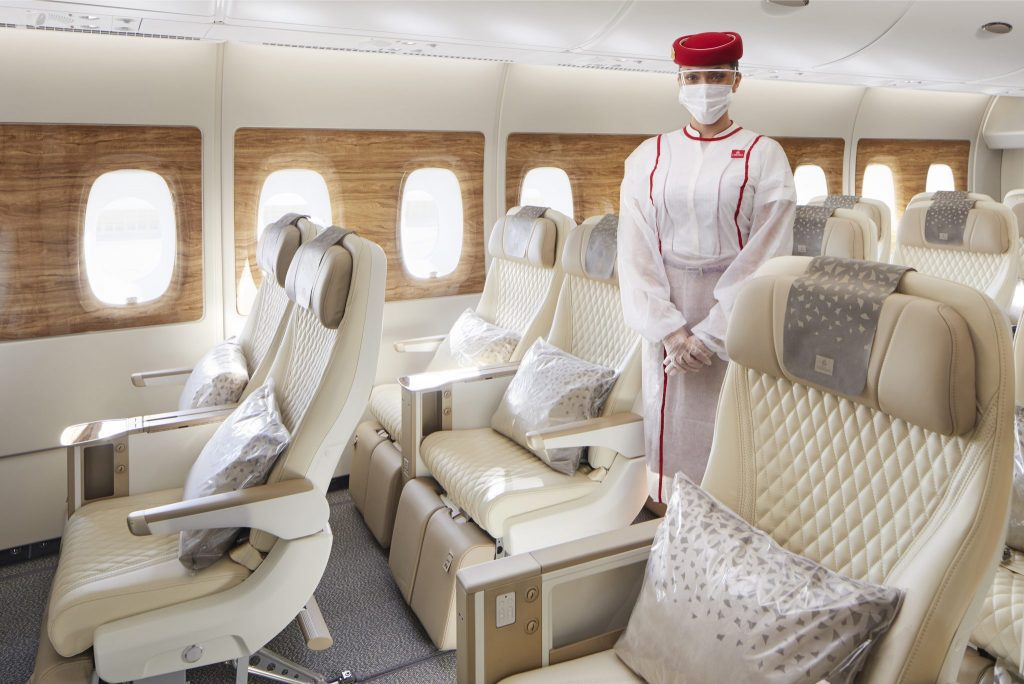 Emirates' new A380, with premium economy seats. The airline is launching a new distribution strategy and portal.