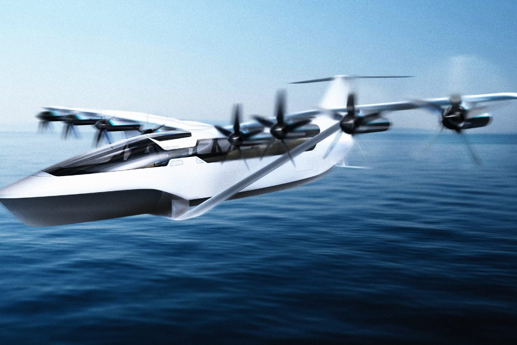 A photo-illustration of what the Regent's first electric flying machine that will transport commercial passengers by water and air might look like when finished.