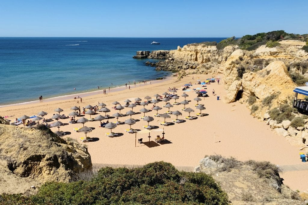 A beach in the Algarve region of Portugal. The country imposed new restrictions on some UK travelers.