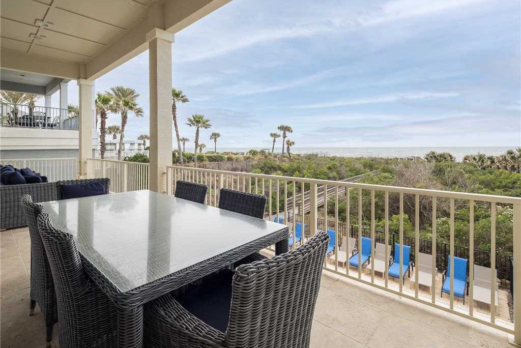 The view from a porch of a vacation rental with 5,000 square feet of space and ocean front views at Cinnamon Beach, Florida. It was recently bookable via VTrips, a property management company for vacation rentals. The Florida-based startup has acquired Resort Collection and plans to go public.
