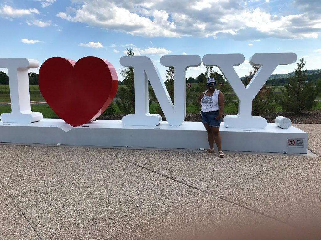 My younger sister Adia in Lake George, New York.