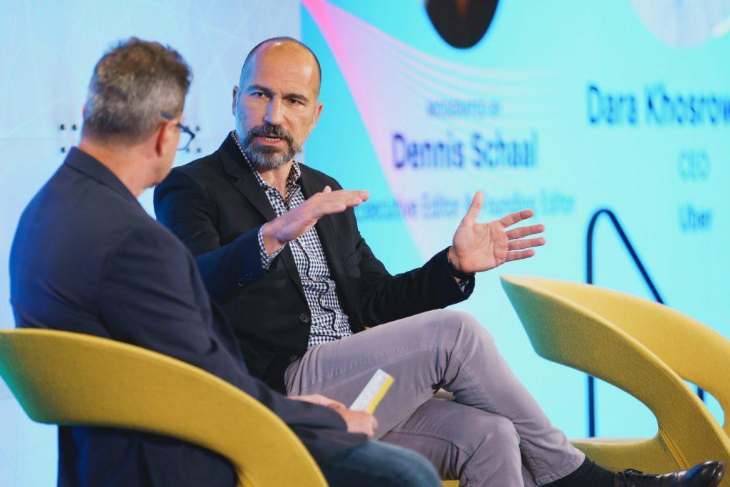 Uber CEO Dara Khosrowshahi speaking with Skift Executive Editor Dennis Schaal at Skift Global Forum in New York City on September 22, 2021.  Source: Skift