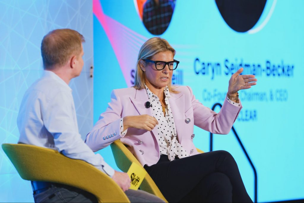 Caryn Seidman Becker, CEO of Clear speaking with Skift Senior Travel Tech Editor Sean O'Neill at Skift Global Forum on Sept. 23, 2021.